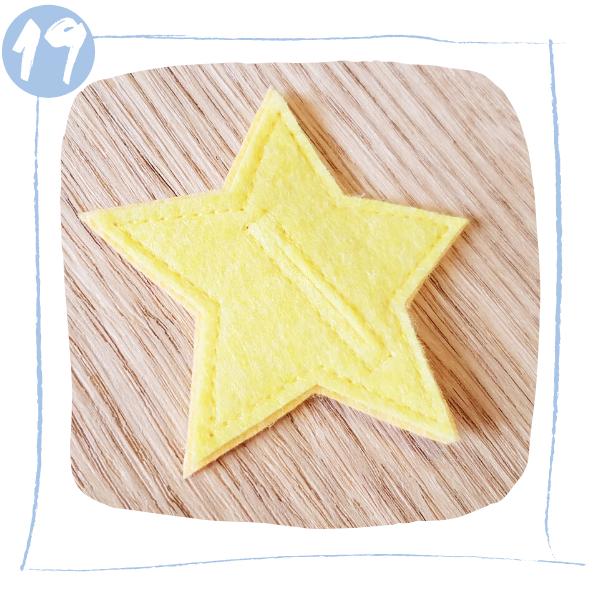 L'Atelier de Béryl - Tutoriels pour Quiet Books - Blog - Page formes géométriques - étape 19 - forme étoile terminée
