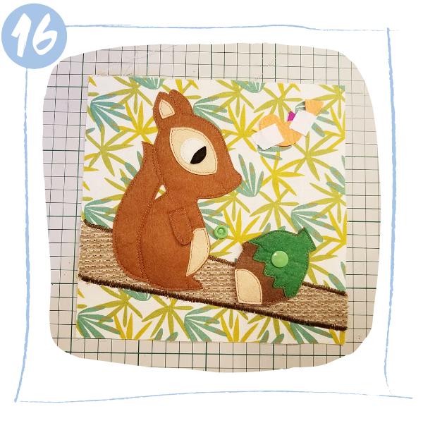L'Atelier de Béryl - Tutoriels pour Quiet Books - Blog - Page ecureuil - étape 16 - Positionner l'oiseau