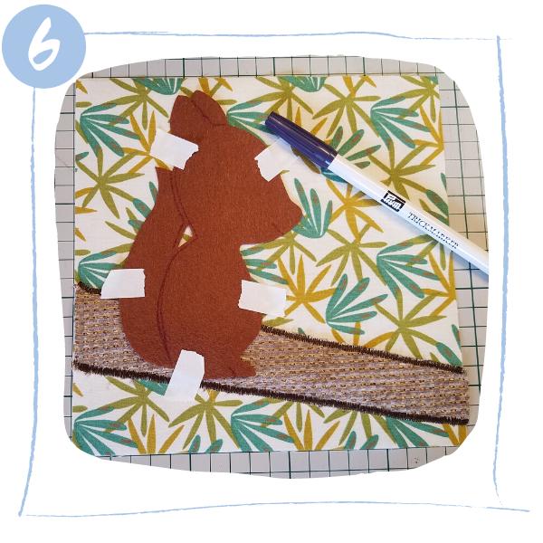L'Atelier de Béryl - Tutoriels pour Quiet Books - Blog - Page ecureuil - étape 6 - positionner ecureuil et marquer traits