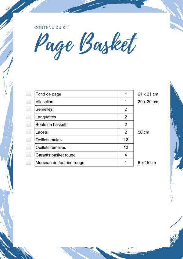 L'Atelier de Béryl - Livre activité Quiet book - Kits - Contenu du Kit - Page Baskets