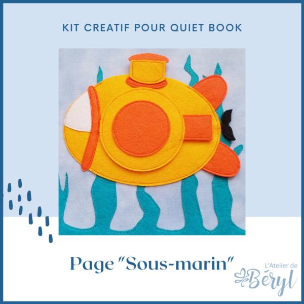 L'Atelier de Béryl - livre activité enfants Quiet book - Kits - Page Sous-Marin