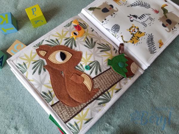 L'Atelier de Béryl - Quiet book - Anaïs - théatre chat lune oiseaux activités écureuil widget fidget