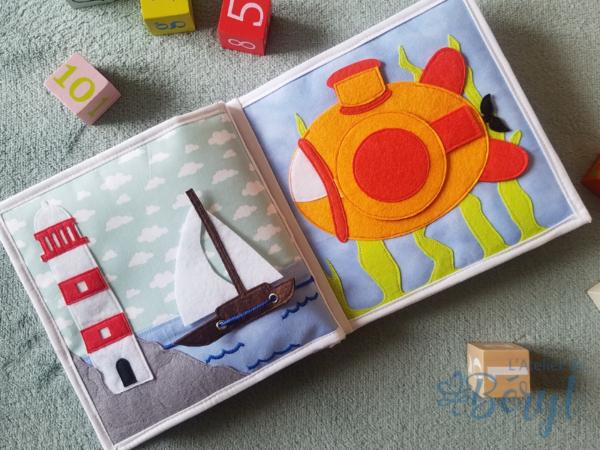 L'Atelier de Béryl - Quiet book - Livre activité enfant widget fidget - Sous-marin phare voilier