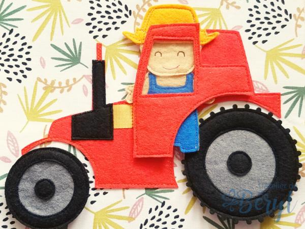 L'Atelier de Béryl - livre activité enfant - Quiet book - page tracteur - fermier et lapin